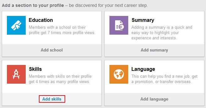 LinkedIn add skills button