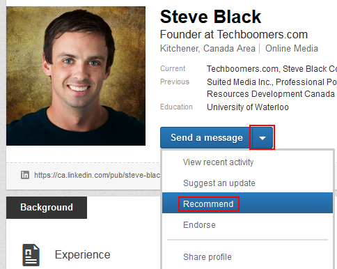 Button to recommend a LinkedIn connection
