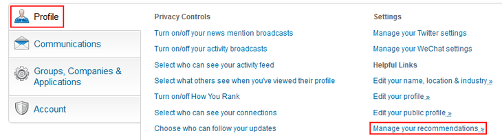 Manage LinkedIn recommendations button