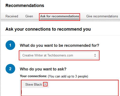 Ask for LinkedIn recommendation form