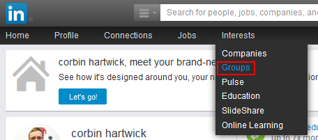 LinkedIn groups button
