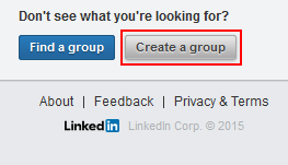 Create LinkedIn group button