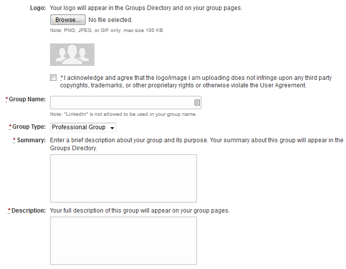 Form for creating a LinkedIn group
