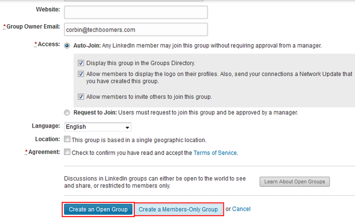 Confirm creating a LinkedIn group