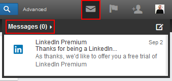 LinkedIn messages button