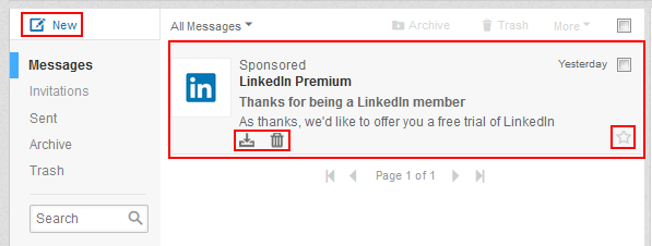 LinkedIn messages options