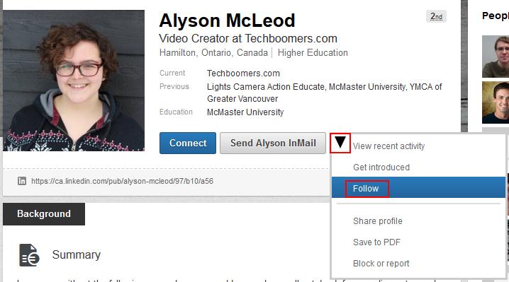Follow a LinkedIn user