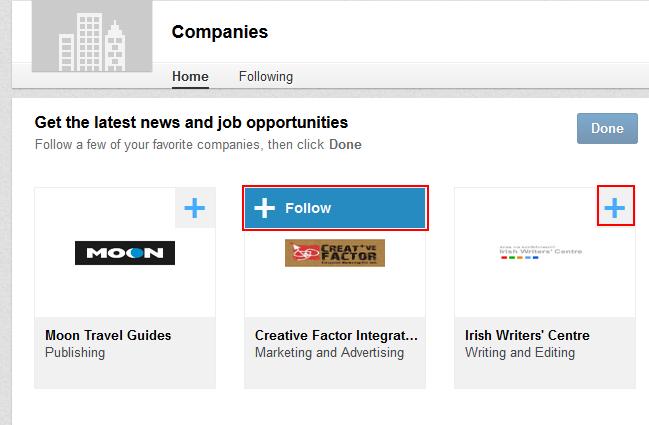 Follow a LinkedIn company