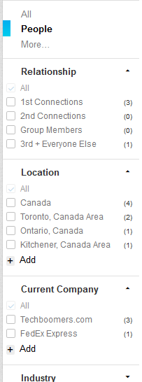 LinkedIn people search options