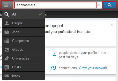 LinkedIn search box