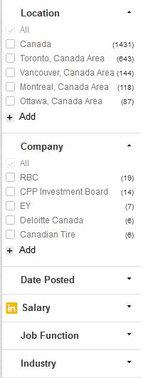 LinkedIn job search options