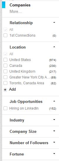 LinkedIn company search options