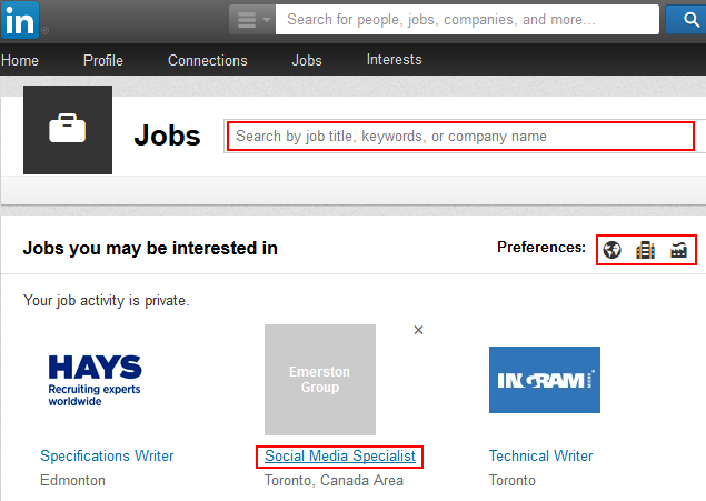 Find and select a LinkedIn job
