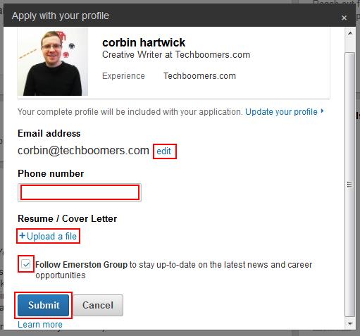Submit LinkedIn job application