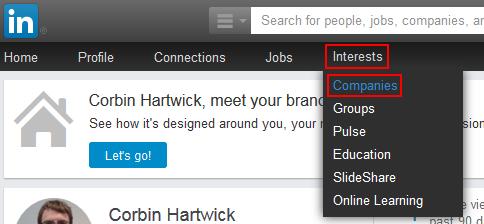LinkedIn companies button