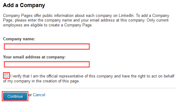 Initial LinkedIn company page information form