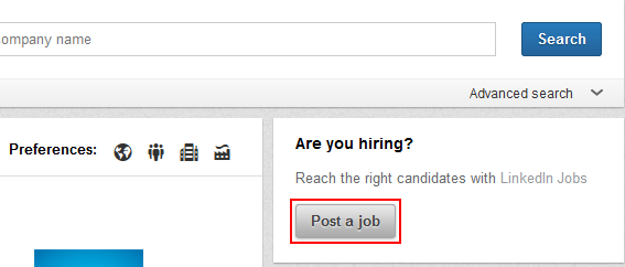 LinkedIn post job button
