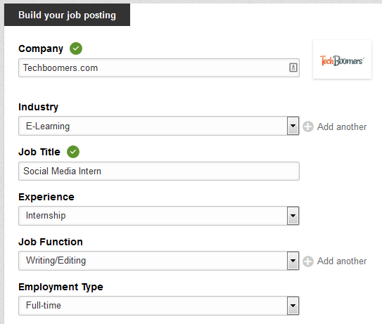 LinkedIn job initial information form