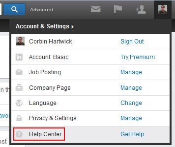 LinkedIn help button