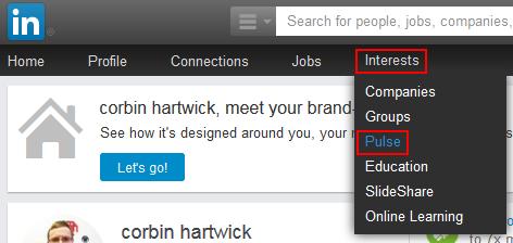 LinkedIn Pulse button