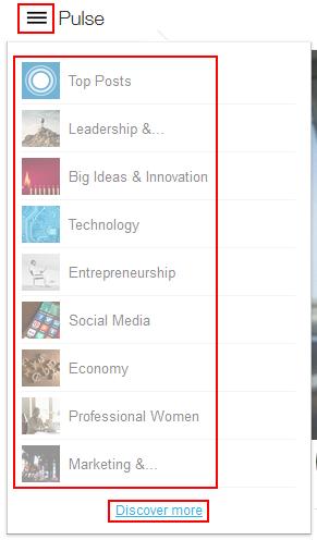 Select LinkedIn pulse channel