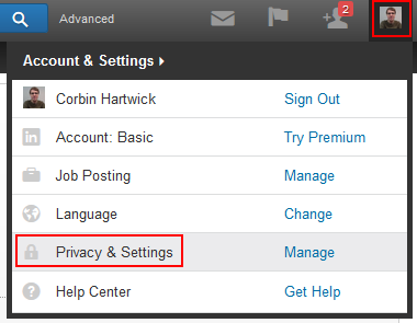 LinkedIn settings button