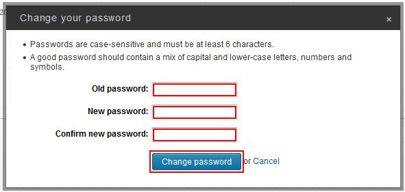 Change LinkedIn password form