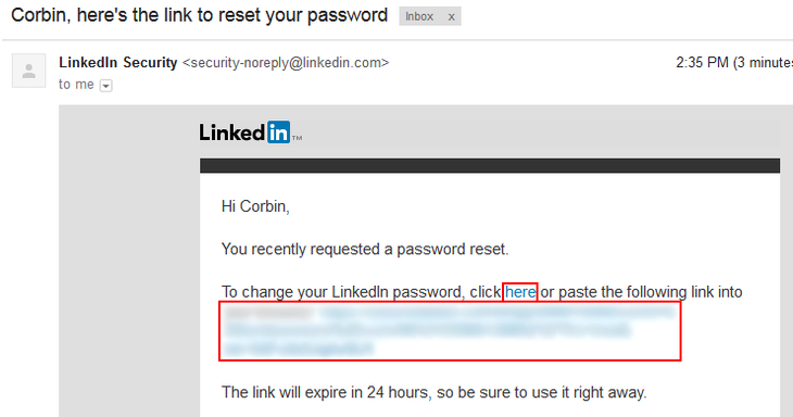 Reset LinkedIn password link