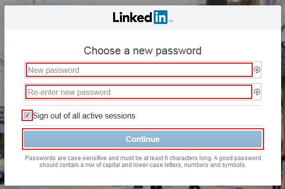 Form to reset LinkedIn password