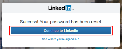 Reset LinkedIn password success