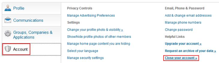 Cancel LinkedIn account button