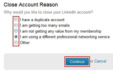 Reason to remove LinkedIn account