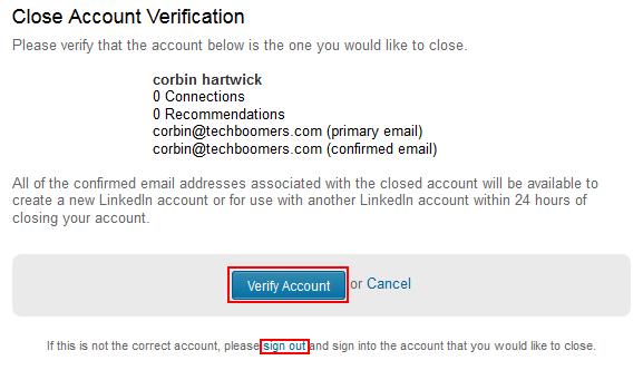 Verify LinkedIn account to delete