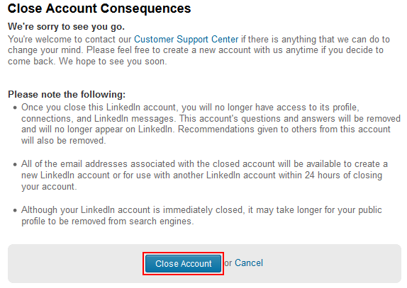 Confirm delete LinkedIn account
