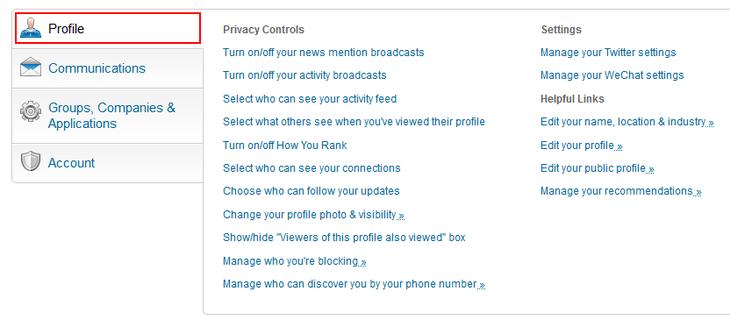 Change LinkedIn profile settings