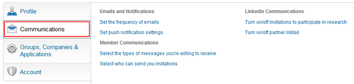 Change LinkedIn communication settings