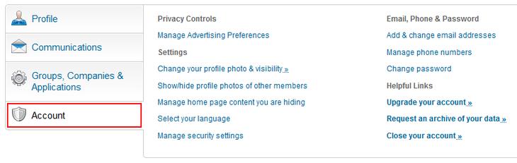 Change LinkedIn account settings