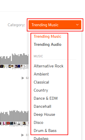 Browsing SoundCloud by track category