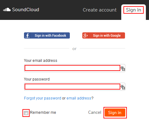 The SoundCloud sign in form
