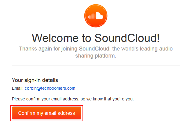 Email and link from SoundCloud to confirm your email address