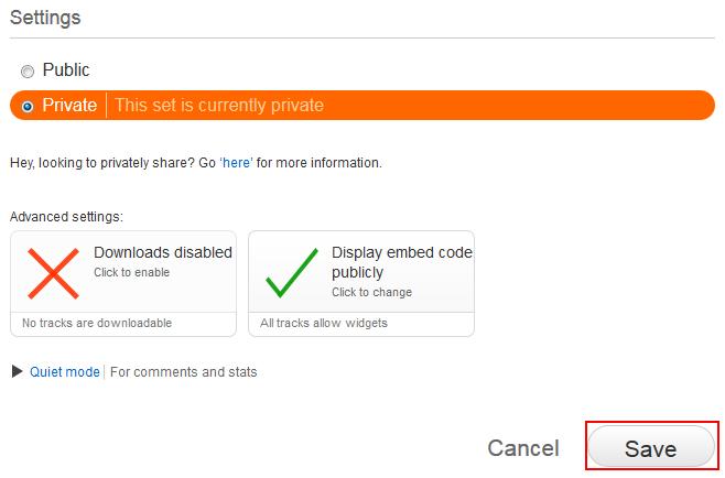 SoundCloud playlist privacy settings