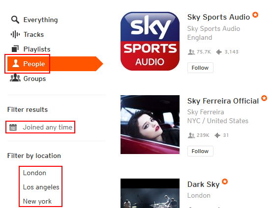 How to search for people on SoundCloud