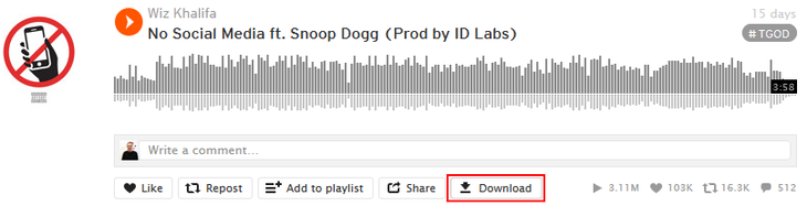 SoundCloud song download button