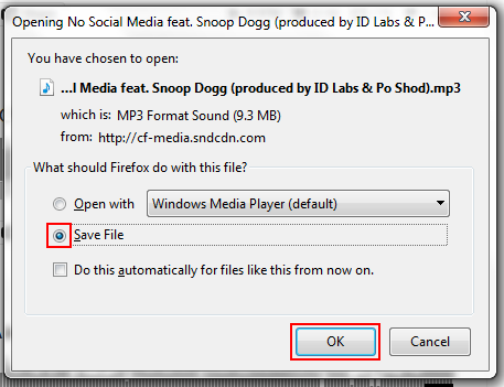 SoundCloud music download save prompt
