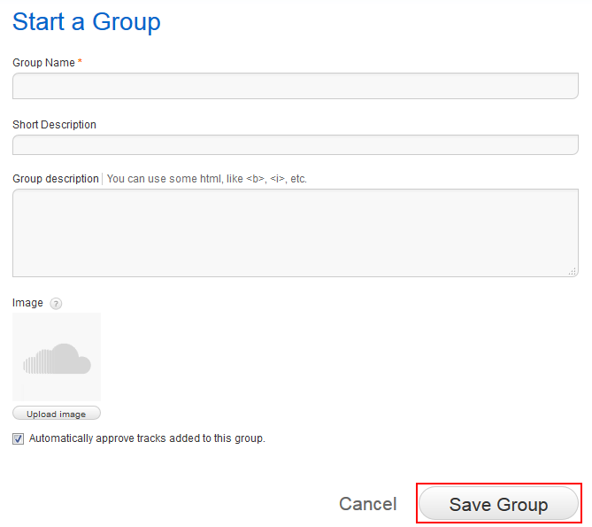 Form for creating a SoundCloud group