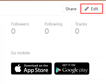 Button to edit your SoundCloud profile