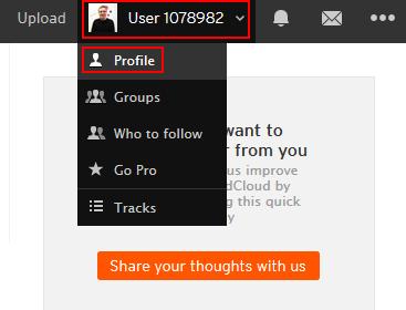 Accessing your SoundCloud profile