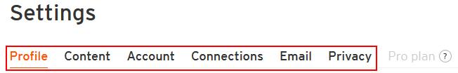 Categories of SoundCloud settings