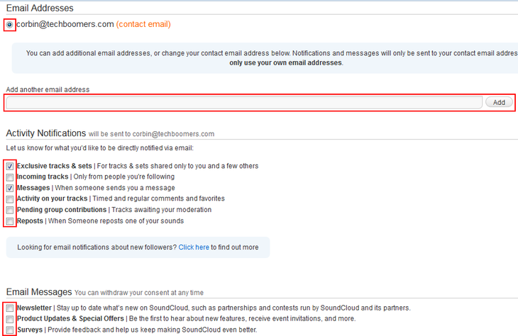 Managing how and when you get emails from SoundCloud