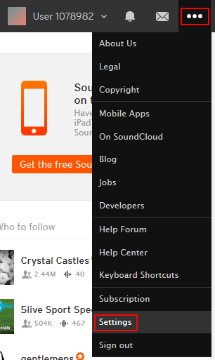 Access your SoundCloud settings